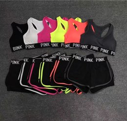 Wholesale Bras Girl - Pink Ladies 2pcs bra Set Letter Printed vest+shorts Ladies Comfortable Sport Running Bra set Elastic trainers Brief sets for Women Girls