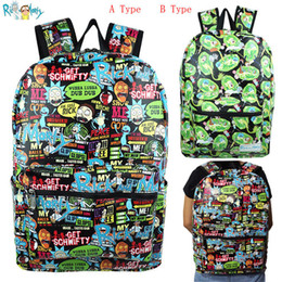 2019 bonitos mochilas laptop Rick e Morty Dos Desenhos Animados Saco de Escola Mochila Bookbag Couro PU Com laptop Mochila Saco de Viagem Bonito Sacos Cosplay desconto bonitos mochilas laptop