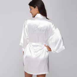 Fashion Silk Bridesmaid Bride Robe Sexy Women Short Satin Wedding Kimono  Robes Sleepwear Nightgown Dress Woman Bathrobe Pajamas 48fad73eb