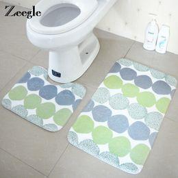Wholesale pattern bath rugs - Zeegle 2PCS Geometric Pattern Bath Mats and Toilet Set Non-Slip Bathroom Mat Toilet Rug Absorbent Bathroom Floor Carpet Foot Pad