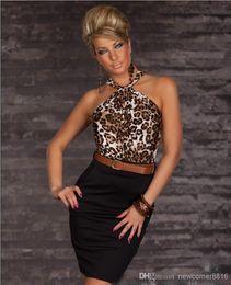b3fe12b0e4ee3 Leopard Print   Belt Sexy lingerie Women none Sleeves clubwear dress Mini  Dress