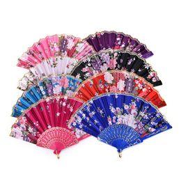 Wholesale Silk Chinese Fan Dance - 8 Colors Chinese Vintage Fancy Folding Fan Hand Plastic Lace Silk Flower Dance Fans Party Supplies For Women Gift