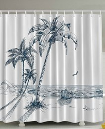 Wholesale Paintings Ocean Waves - Multi-color optional Shower Curtain Palms Beach Shadow Wooden Boat Ocean Waves Painting Polyester Fabric Bathroom Curtain Set
