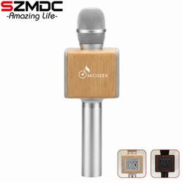 Wholesale Chip Speaker - Original brand MicGeek ELF 3D Wireless Karaoke Microphone 2.1 Sound Track Natural Rosewood DSP Chip Voice Speakers Smartphone