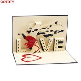 Wholesale valentine postcards - Christmas Postcard 3D Pop Up Cards Cupid Heart Happy Valentine Anniversary Birthday #H0VH#