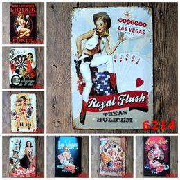Canada Mur Décor Vintage En Métal Peinture Sexy Fille Poker Las Vegas Signes Tin Bar Affiche Décor À La Maison pour Café Pub Restaurant Taille Du Magasin: 20 * 30 cm Offre