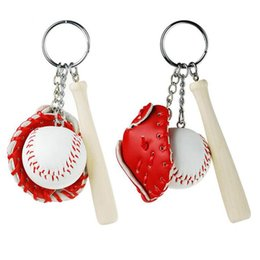 Wholesale Costume Couple - Softball Baseball Keychain Multicolor Men Bags Car Key Ring Simulated Tennis Baseball Key Chain Couples Lover Gift For Women Keychain Jewe
