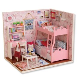 jouet de maison de poupée Promotion 1 pc En Gros Dropshipping MOONBIFFY À La Main Maison De Poupée Meubles Miniatura Diy Poupée Maisons Miniature Dollhouse En Bois Jouets