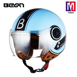 2019 cascos de beon 2018 BEON B-110B Nuevo casco de motocicleta retro vintage Moto 3/4 Cara abierta Medio casco Crucero Touring Chopper Biker Cafe Racer Moto Helm