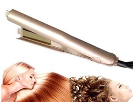 Wholesale Curl Straighten Hair - 2018 NEW Iron Hair Straightener Iron Brush Ceramic 2 In 1 Hair Straightening Curling Irons Hair Curler EU US Plug with LOGO