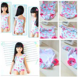440b1ed9267a3 Flamingo Print Baby Girls Swimsuit One Piece lace cartoon Bathing Suit  Swimwear Bikini Bathing Suit Tankini FFA077