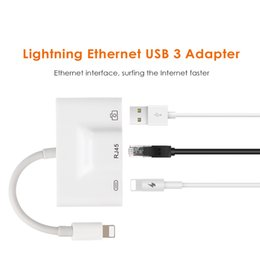 Wholesale Ethernet Lan Network Cable - For Lightning to Premium Ethernet Adapter RJ45 LAN Wired Network Cable USB Camera Reader Overseas Travel Compact for ipad
