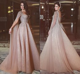 Wholesale blue american prom dress - Free Shipping New High-end Custom Elegant Champagne Heavy Manual Shawl Prom Dresses European And American Long Red Carpet Evening Dresses