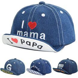baby jungen hysteresen Rabatt Baby-Hut-Kind ich liebe Mama Papa Frühling weiche Denim-Baseballmütze für Jungen und Mädchen Snapbacks einstellbar Sommer Sun Caps