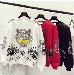 Wholesale Tiger Cashmere - The new double zipper head embroidery tiger eyes with cashmere sweater couples dress printing