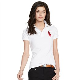 Wholesale embroidery twill - 2018 new Women Polo Shirt Badge Embroidery Short Sleeves Polo Flat Collar Female Brand Clothes Lycra Soft Polo Shirts free shipping