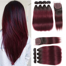 Wholesale burgundy red hair color extension - Peruvian Ombre 1B 99J Straight Virgin Hair 4 Bundles With Lace Closure Burgundy Wine Red Weave Extensions 1B 99j Straight Human Hair Vendors