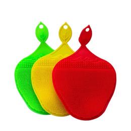 Stuoie di fragole online-Spazzola per la pulizia in silicone multiuso creativo per lavare i piatti lavastoviglie strumento da cucina a due lati bagno pad isolamento pad 7 15br v