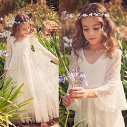 Wholesale girls easter dress 12 - 2018 Cute Lace Ivory Jewel Flower Girls Dresses Ankle-Length Long Sleeves Wedding Girls Pageant Dresses Party Dresses For 2-12 Years MC0668