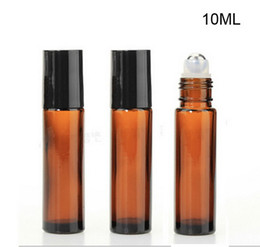 Wholesale Essential Oil Amber Glass Bottles - AMBER Glass Roll On Bottle 10ml (1 3oz) Essential Oil Empty Aromatherapy Perfume Bottle metal Roller Ball Wholesale 200pcs lot Free Shipping