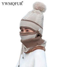 f419dc4e53d YWMQFUR 2018 Winter Women Beanies Hat Scarf Mask Sets Fashion Warm Lady  Outdoor Girl PomPom Caps Female Mask Knit Rings Scarves