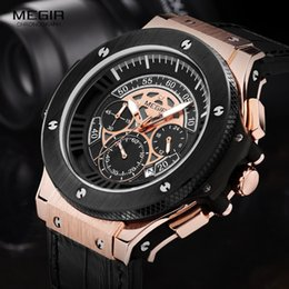 2019 стильные часы Men Quartz Watch Fashion Stylish MEGIR  Design Chronograph Army Clock Sport Leather  Wrist Waterproof Watch Relogio скидка стильные часы
