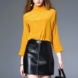 Wholesale ladies long sleeve silk blouses - Genuine Silk Blouse For Women Fashion Slim Top Female Italian Style Shirt Lady OL Skinny Blouse Sexy Chemise Stand Collar Top