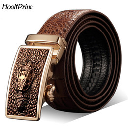 genuine crocodile skin leather Coupons - Hot Sale Men belts Luxury Genuine leather Crocodile designer Automatic Belt man buckle Real Cow skin Wide girdle for Jeans male