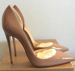Envío gratis tan Kate Styles 12cm zapatos de tacones altos Red Bottom Nude Color cuero genuino punta del dedo Mujeres bombas zapatos de goma de la boda desde fabricantes