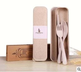 Wholesale reusable chopsticks - New Design Portable Wheat Straw Spoon Fork Chopsticks Set Tableware Eco-friendly 4 Colors Reusable Wheat Straw Travel Camping Cutlery Set