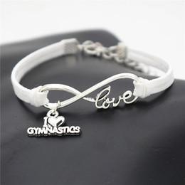 Hot New Design Infinity Love I Braccialetto cuore ginnastica per uomo donna in pelle scamosciata bianca corda braccialetti moda polsino regalo gioielli partito da