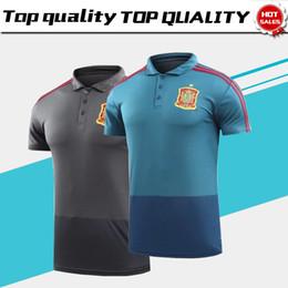 Wholesale Sports Shirts Men - 2018 World Cup Polo Spain Polo Blue Soccer Jersey 2018 Spain Grey Soccer Polo Football Uniforms Sport Shirt On Sale