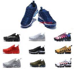 Wholesale Plus Size Shoes Flats - 2018 NEW men women Vapormax TN Plus Olive In Metallic White Silver Colorways Pack Triple Black sneakers running shoes men women size 36-45