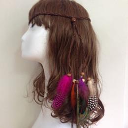 Peacock Feather Şapkalar Hint Bohemia Halk Saç Halat El Yapımı Dokuma Halat Kızlar Için Boncuk 2 Stilleri Toptan Ile nereden hint tüyü saç tedarikçiler