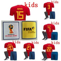 Wholesale Rugby Kits - Spain kids Jersey 2018 ISCO PIQUE SERGIO RAMOS A. INIESTA M. ASENSIO THIAGO MORATA home soccer shirt Football uniforms sales Spain kits
