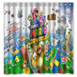 2019 disegni su misura Nuovo design personalizzato! Anime Super Mario stampato impermeabile poliestere doccia Cortina / Bath Curtain (dimensioni: 180X180CM) disegni su misura economici