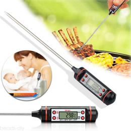 Termómetros portátiles online-Negro Electrónico Termómetro de Alimentos Sonda Digital de Alimentos BBQ Sensor de Calidad Alimentaria Termómetro de Carne Cocina Portátil Herramientas de Cocina AAA733