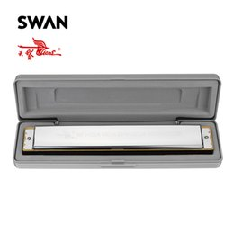 Wholesale Swan Mouth Harmonica - Swan 28 Holes Wide Diapason Key of C Tremolo Harmonica Professional Musical Instruments Woodwind Mouth Organ Harp in Plastic Box