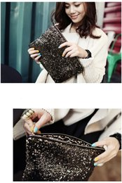 Wholesale Wedding Totes - 6pcs New Fashion Sparkling Sequins Clutch Evening Party Bag Handbag Womens Tote Purse Wedding Bag Freeshipping
