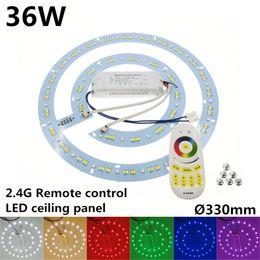 Placas de condutor de luz led on-line-2.4G Driver de Controle Remoto 36 W rodada placa de Alumínio Magnética levou luz de teto LEVOU Painel Da Placa Circular Luzes Do Tubo CW + WW + RGB