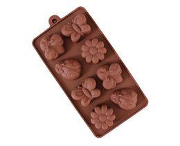 Chocolates de borboleta on-line-Silicone molde de chocolate - massa maker sabonete diy molde borboleta besouro flor geléia pudim moldes cozinha gadget