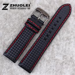 2019 brazaletes zulú Banda de reloj de partículas de fibra de carbono 18 mm 20 mm 22 mm 24 mm Negro Impermeable costura roja con correa de reloj de cuero genuino interno