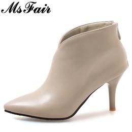 ceab0f765b148 MsFair Femmes Bottes Chaussures Femme Mode Métal Fermeture À Glissière  Bottines Femmes Chaussures Élégant Court En Peluche Sexy Talons Mince Pour  Fille