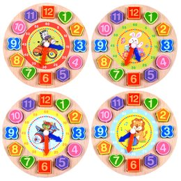 Wholesale wooden clock puzzle - Time Educational Toys Puzzles Animal Cartoon For Children Educational Digital Wooden Clock Beaded Toys 4 Models 1Pcs Set