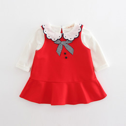 Wholesale Korean Baby Vest - INS 2 color 2018 Korean style spring new fashion new arrivals Girls Baby Vest dress+cotton doll collar t shirt two sets free shipping