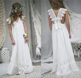 Wholesale Lace Flower Dress - Newly Beach Boho Flower Girl Dresses 2018 Chiffon Custom Size Holy Little Kids Communion Gowns V Neck Kid Formal Birthday Commuion Dresses