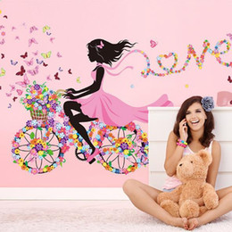 Wholesale Wall Decals Baby Girl - 50x70cm Fairy Flower Butterfly Stickers Decal Decoration DIY Nursery Kids Baby Girl Room Wall Sticker Home Ornaments New