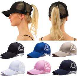 1d79efc040c blank white hats Canada - Trucker Hat Mesh Snapback Women Baseball Cap  Adjustable Flat Blank