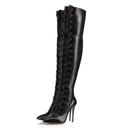 bottes hauteur 13 Promotion Multi boucle sangle sur le genou bottes sexy bout pointu femmes bottes cuisse-haute grande taille 13 date arrivée hiver talons aiguilles