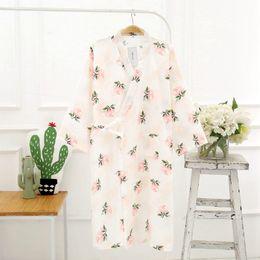 Wholesale Japanese Floral Shirts - Floral Bath Robe Cotton Gauze Dressing Gowns for Women Cotton Bathrobe Japanese Kimono Robe Bridesmaid Robes